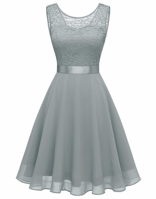 BeryLove Women Short Floral Lace Bridesmaid Dress Vintage Cocktail Party Swing Dress BLP7005BNavyS