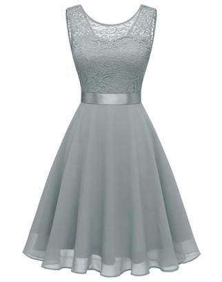 BeryLove Women Short Floral Lace Bridesmaid Dress Vintage Cocktail Party Swing Dress BLP7005BRoyalBlueL