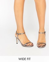 Faith Wide Fit Dolly Pewter Metallic Barely There Heeled Sandals