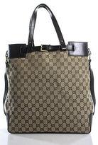 Gucci Beige Brown Gold Tone Leather Detail Monogram Canvas Tote Handbag