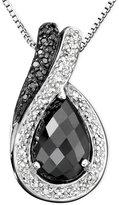 Macy's Sterling Silver Onyx & Diamond (1/7 ct. t.w.) Pendant