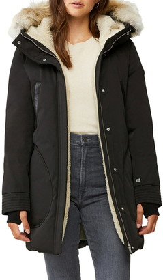 Soia & Kyo 700 Fill Power Down Coat with Genuine Coyote Fur Trim