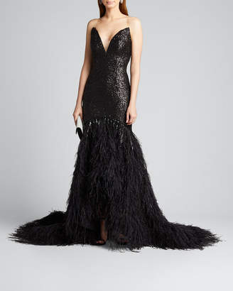 Pamella Roland Metallic Sequined Feather-Train Gown