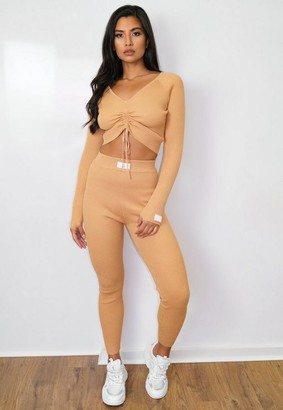 Missguided Camel Co Ord Msgd Ruched Knit Crop Top