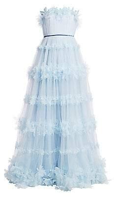 Marchesa Women's Floral Strapless Gown