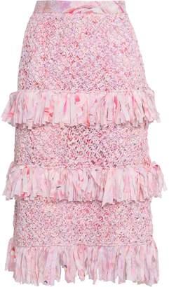 Isolda Fringed Silk-trimmed Macrame Skirt