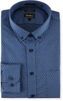 Neiman Marcus XTrim Fit Dobby Diamond Dress Shirt, Dark Blue