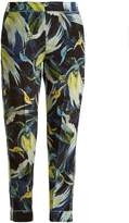 Erdem Giulia Night Bird-print silk cropped trousers
