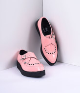 T.U.K. Peachy Pink Patent Pointed Toe Vegan Monk Buckle Creeper Shoess