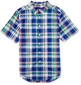 Ralph Lauren Short-Sleeve Madras Plaid Shirt, Blue/Green, Size 2T-4T