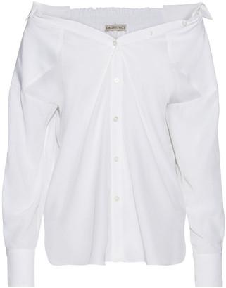 Emilio Pucci Shirred Silk Crepe De Chine Shirt