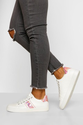boohoo Wide Fit Side Stripe Basic Lace Up Trainers