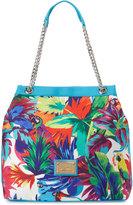 Love Moschino Jungle-Print Canvas Tote Bag, White/Blue