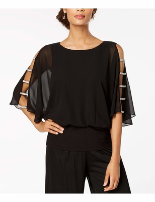 Pisarro Nights Womens Black Embellished Solid 3/4 Sleeve Jewel Neck Evening Top Petites UK Size:16