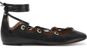 Isabel Marant Leomia Lace-up Leather Ballet Flats