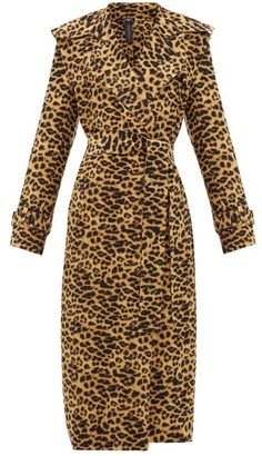 Norma Kamali Double-breasted Leopard-print Trench Coat - Leopard