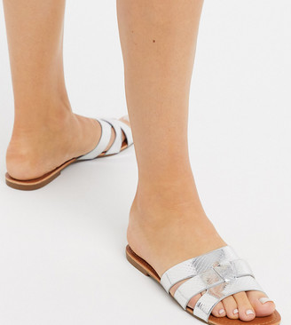 Glamorous Wide Fit flat sandals in silver snake metallic