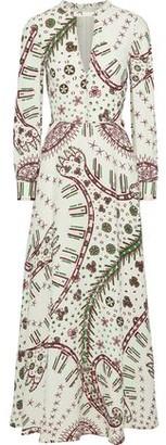 Valentino Cutout Printed Crepe Maxi Dress