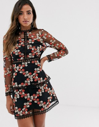 Asos Design DESIGN long sleeve tiered mini dress in red embroidered floral mesh