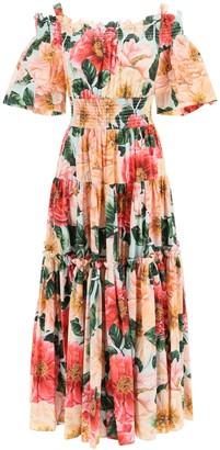 Dolce & Gabbana off-shoulder dress in camellia print cotton