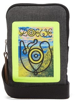 eye/LOEWE/nature Logo-woven Applique Canvas Pouch - Black