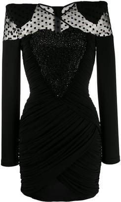 Balmain sheer-panel short dress
