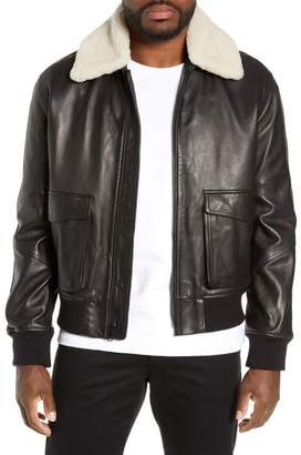 Vince Leather Aviator Jacket & Removable Genuine Shearling Collar