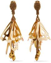 Oscar de la Renta Large Impatiens Gold-tone Resin Clip Earrings - one size
