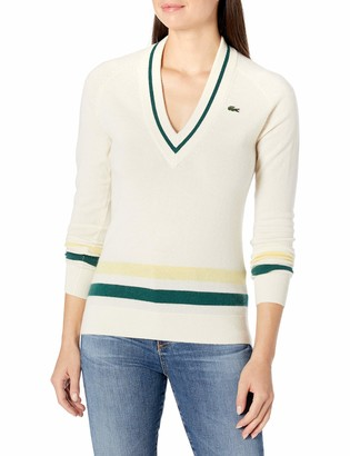 Lacoste Women's Sport Long Sleeve V-Neck Striped Golf Sweater