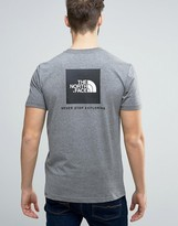 The North Face Red Box T-Shirt Back Logo in Mid Gray Heather