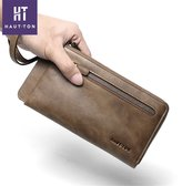 HAUTTON Men's Leather Bifold Long Money Clip Zippered Purse Wallet BlackSZB123