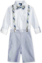 Nautica 4-Pc. Printed Shirt, Plaid Bow Tie and Suspenders, Chambray Short Set, Toddler & Little Boys (2-7)