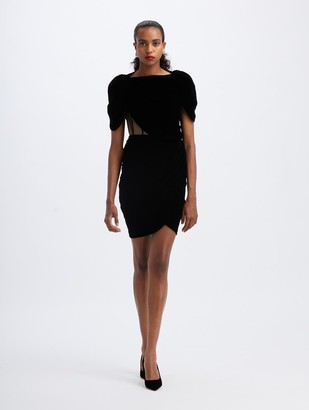 Oscar de la Renta Velvet Exposed-Corset Midi Dress