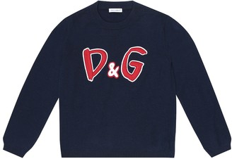 Dolce & Gabbana Kids Logo-embroidered wool sweater
