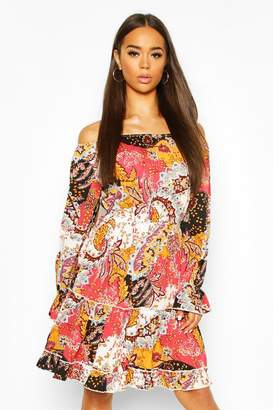 boohoo Paisley Off Shoulder Ruffle Detail Skater Dress