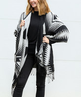 Funky Monkey Women's Ponchos triangles - Black & Gray Geometric Fringe Kimono - Women