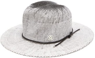 Maison Michel Yoshiko Leather-trimmed Straw Hat - White Black