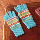 Artisan Crafted Alpaca Wool Patterned Gloves, 'Ancash Fantasy'