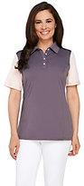 As Is Denim & Co. Active/Golf Color-Block Polo Short Sleeve Top