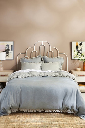 Anthropologie Susana Linen Blend Duvet Cover By in Blue Size Q top/bed