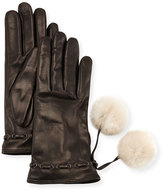 Portolano Leather Gloves w/ Fur Pompoms, Black/White