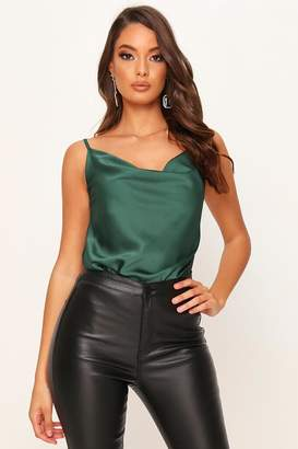 I SAW IT FIRST Green Satin Cowl Neck Cami Top