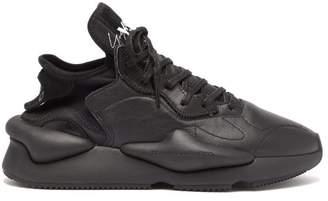 Y-3 Y 3 Kaiwa Low Top Leather Trainers - Mens - Black