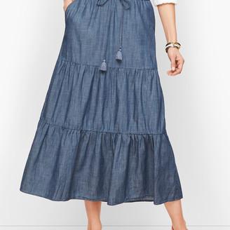 Talbots Tiered Denim Maxi Skirt
