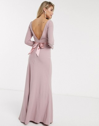 Chi Chi London Chi Chi Valentina bow back maxi dress in pink