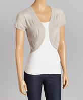 Gray Sheer-Stripe Sweater Shrug