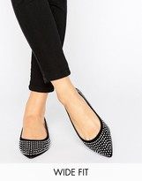 Asos LIEZEL Wide Fit Embellished Pointed Ballet Flats