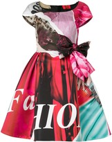 Moschino flared printed bow dress