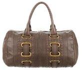 Bottega Veneta Intrecciato-Trimmed Boston Bag