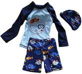 Acme Baby Toddler Boys Three Pieces Long Sleeve Rash Guard and Swim Diaper Trunks